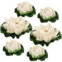 Winomo 6 stücke Künstliche Teichpflanzen Lotus Simulation Floating Blume Teich Fisch Tank Dekor Ornamente weiß1