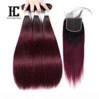 HC прямые человеческие волосы с кружевным закрытием 4 * 4 T1B 99J Ombre бразильские пакеты волос Расширения 3 пакета со средней частью закрытия 4шт.