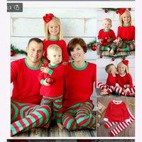 3 kleuren Xmas Kids Volwassen Familie Matching Christmas Deer Gestreepte Pyjama's Nachtkleding Nachtkleding Pyjama Bedgown Sleepcoat Nighty Pyjama FY9250