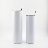 20Oz SublimArtion Gerade Tumbler mit Deckelgummi-Böden Edelstahl Tumbler Kaffeetasse Sublimation Blanks Wasserflasche