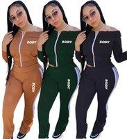 Mujeres Diseñadores Ropa Cuerpo Letras Apagado Hombro Manga Larga Cremallera Chaqueta Pantalones Bordado Dos Piezas Trajes Deportes D102805