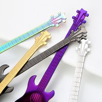 Paslanmaz Çelik Kahve Kaşık Gitar Tarzı Yaratıcı Kepçe Çay Tatlı Için Dondurma Kahve Süt 7 Renkler Yemek Kaşık 350 adet HHE4174