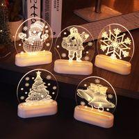 Аккумулятор AAA USB LED Рождественские декоративные огни 3D ночной свет прикроватный столик настольный фонарь для комнаты бар магазин витрина праздник освещение в помещении