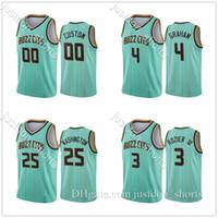 남자 Devonte 'Graham 2 Lamelo Ball Shirts 2020/21 민트 그린 버즈 00 도시 유니폼 S-2XL 녹색 파란색 셔츠