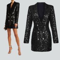 Kurtka Kobiety Sexy Eleganckie Długie Czarne Cekiny Frezowanie Blaaser Kobieta Runway Designer Outwear Stage Blazer Slim Chic Top 2020