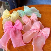 Children Simple Beautiful Colorful Long Floating Yarn Bow Du...