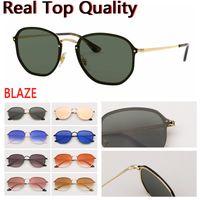 gafas de sol gafas de sol resplandecen hexagonales para las mujeres de los hombres gafas de sol de las lentes UV400 con el caso de cuero, y todos los paquetes de venta al por menor!