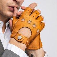 قفازات أصابع وصول الربيع الرجال جلد طبيعي القيادة غير المبطنة 100٪ غزة نصف اصبع جيم اللياقة 1