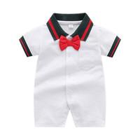 الصيف طفل الفتيان مصمم رومبير الأزياء الرضع شريط القوس التعادل قصيرة الأكمام رومبير الوليد الرجل نيسيي تسلق الملابس C6799