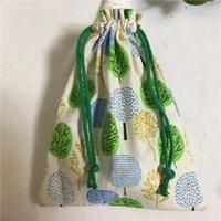 1 pc handmade de algodão linho cordão organizador multi-propósito saco presente verde azul khski 8123g1