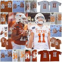 Пользовательские Texas Longhorns 5 Bian Robinson # 11 Sam Ehlinger Jersey Vintage # 10 Винс Молодой # 20 Эрл Кэмпбелл # 34 Ricky Williams Texas Longhorns