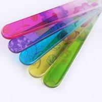 네일 파일 1pc 스탬핑 꽃 유리 파일 버퍼 14cm 매니큐어 아트 연습 도구 임의 패턴