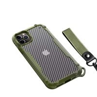 Acrílico + TPU + fibra de carbono 3 en 1 anticaída del teléfono móvil para el iPhone 12 11 Pro Max XR X XS Max 7 8 6S Plus Con Fashional de la cuerda de seguridad