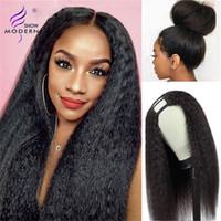10-28 Modern Show Hair Kinky Straight U Part Wig Brasilian Remy Human Hair Wigs 150% Perruque U Part Yaki Gluvlös Naturlig Svart Färg