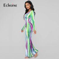 Échoine 2020 Tie Cravate Stripe Stripe Print Sexy Maxi Robe Femmes Spring Fashion Vestidos Night Club Party Sleeve Manches Longues Robes Balustral X1224
