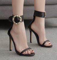 Sandálias ddyzhy mulher sexy saltos altos sapatos de metal fivela oco verão peep toe slides moda cobra imprime zapatos mujer preto