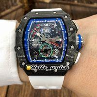 Top Nuovi FlybackCarbon fibra Caso RM11-04 11-04 Miyota Autoamtic scheletro quadrante blu interno Mens Watch gomma bianca Orologi sportivi Hello_watch