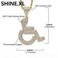 18K Gold Euro Rollstuhl Anhänger Halskette Messing Material Gold Silber Überzogene Mens Hip Hop Schmuck Geschenk