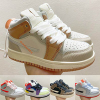 Nike Air Jordan 1 Mid Zapatos para niños pequeños 2020 Milan Starfish Naranja Multicolor Pink Quartz Leopard Niños Niñas Niños Zapatos de baloncesto Tamaño 22-35