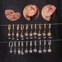 1Piece Crown Coração Moon Star Piercing Hoop Brincos para Mulheres Jóias Círculo Starfish Mulheres Cubic Zircon brincos