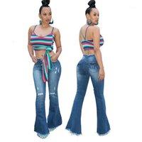 Kadın Kot kadın Geniş Bacak Yüksek Belli Denim Flared Pantolon Kadın Yırtık Delikler Sıska Pantolon Düğme Çan-Alt Jean Pantolon 20211