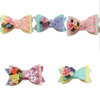 5 cores menina acessórios de cabelo princesa lantejoulas flores estéreo barrettes cute crianças menina moda bow barrettes navio grátis 492 K2