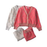 여자 겨울 옷 세트 긴 소매 스웨터 니트 카디 건 니트 치마 의류 양복 아기 복장 키즈 여자 옷 세트 201126