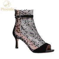 Phoentin Kristal Mesh Yaz Çizmeler Bayanlar Seksi Fermuar Boot Sandalet Peep Toe Patik Yüksek Topuklu Toka Kadın Ayakkabı Siyah LJ201030