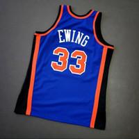 Дешевые Пользовательские ретро # 33 Юинг Mitchell Ness College Basketball Джерси Мужская прошитой Голубой Размер 2XS-3XL 4XL 5XL Имя Номер Vest