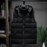 Kış Kolsuz Ceket Erkekler Rahat Aşağı Yelek Erkekler Sıcak Kalın Kapüşonlu Mont Erkek Pamuk Ped Erkek Çalışma Yelek Gile Homme L-4XL1