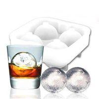 Bolas de hielo de alta calidad Maker Utensilios Gadgets Molde 4 Whisky Cell Cocktail Premium Esferas Redondas Bar Cocina Herramientas Party Tray Cube WQ566