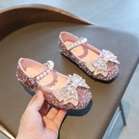 2021 Fashion Beaded Bow Baby Dress Pu Leather Shoes For Kids Girls Party Princess Sequin Shoes For Children'S 1 3 5 6 7 12 Year