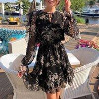 Simplee Zarif Çiçek Baskı Mini Elbise Kadın V Boyun Lace Up Uzun Kollu Ruffled Tatil Elbise Yüksek Bel İlkbahar Yaz Elbise1