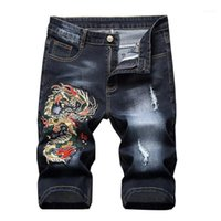 Moruancle الرجال ممزق جينز قصير مع التنين التطريز الأزياء المتعثرة السراويل الجينز مطرزة للذكور مستقيم 11