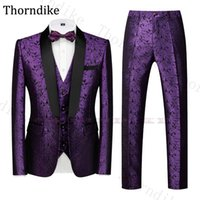 Thorndike Purple Wedding Suit Men Elegant Formal Suits Shawl Lapel Jacquard Grooms Taxedos Casual Summen Autumn Party Prom Suits