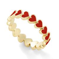 Очаровательны красочные эмаль сердца окруженные укладки золотые кольца любви для женщин минималистские украшения для женщин лучшего друга мужское кольцо