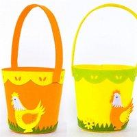 Fröhliche Ostern Hahn Gedruckt Korb Bunte Ei Cartoon Nichtgewebte Einkaufstasche Designs Neujahr Geschenke Ei Süßigkeiten Barrel Eimer Handtasche G12003