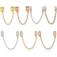 Charme Pulseiras Buipoey Moda Rosa Gold Daisy Padrão Brilhante Zircão Cadeia de Segurança Fit 3mm Serpente Beads Pulseira Bangle Jóias Gift1