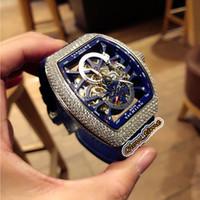 أفضل طبعة جديدة SARATOGE V45 S6 YACHT الهيكل العظمي الهاتفي الماس فضة حالة اليابان ميوتا التلقائية الرجال ووتش جلدية الشريط الرياضة للرجال الساعات
