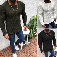 Fashion Mens Sweaters Casual Crew Neck Slim Long Sleeve Desi...