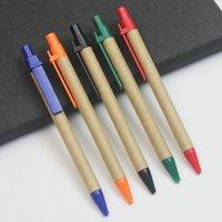 100 шт шариковая ручка Творческий крафт-бумага труба защита окружающей среды шариковая ручка Recycled бумага простой бизнес рекламная ручка
