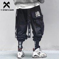 11 BYBB'nin Karanlık Çok Cep Hip Hop Pantolon Erkekler Şerit Elastik Bel Harajuku Streetwear Joggers Erkek Pantolon Techwear Pantolon LJ201217