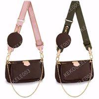 3 pcs conjunto favorito multi cocô civil acessórios mulheres crossbody bolsa bolsas bolsas bolsas de flores designers ombro senhora couro saco de couro