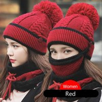 Scarf Hat and Face Mask Sets Knitting Plush Thickening Keep Warm Winter Hats Cycling Woolen Hat