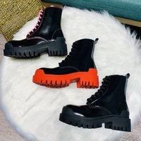 Neue Ankunft Frauen Plattformhalbstiefel aus weichem Leder Winter Spitzen-up-Designer-Schuhe Mode Dame kurze bottines 3 Farben