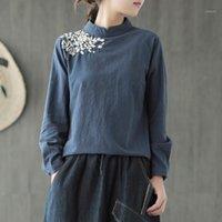 Johnature Kadınlar Nakış T-Shirt Kazak Vintage Kadın Giyim 2020 Sonbahar Yeni Pamuk Keten Katı Renk Standı T-shirt1