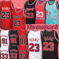 الرجعية 23 MJ جيرسي 33 Scottie Pippen Jerseys 91 Dennis Rodman كرة السلة جيرسي نورث كارولينا رماد خمر دريم