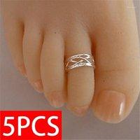 Anelli del cluster 5pcs 925 anello del piede d'argento 925 Donne di modo elegante anello antico regolabile anello antico, gioielli da spiaggia1