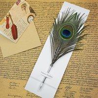 ريشة حبر جاف القلم لون الحبر القلم القرطاسية الطاووس ريشة الشكل القلم للفردية طالب هدية عيد الميلاد هدية مجانية DHL CCE4232