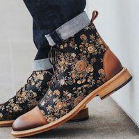 MRCave Hommes Boots Fashion Toe Toe Botas à lacets PU Chaussures en cuir PU Zapatos de Hombre Hiver Hiver Mens bottines Floral Imprimer Cheville Bottines 201127